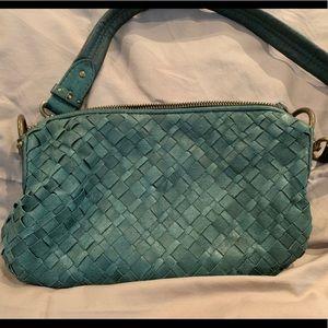 Elliott Lucca Green Woven Leather Handbag Purse